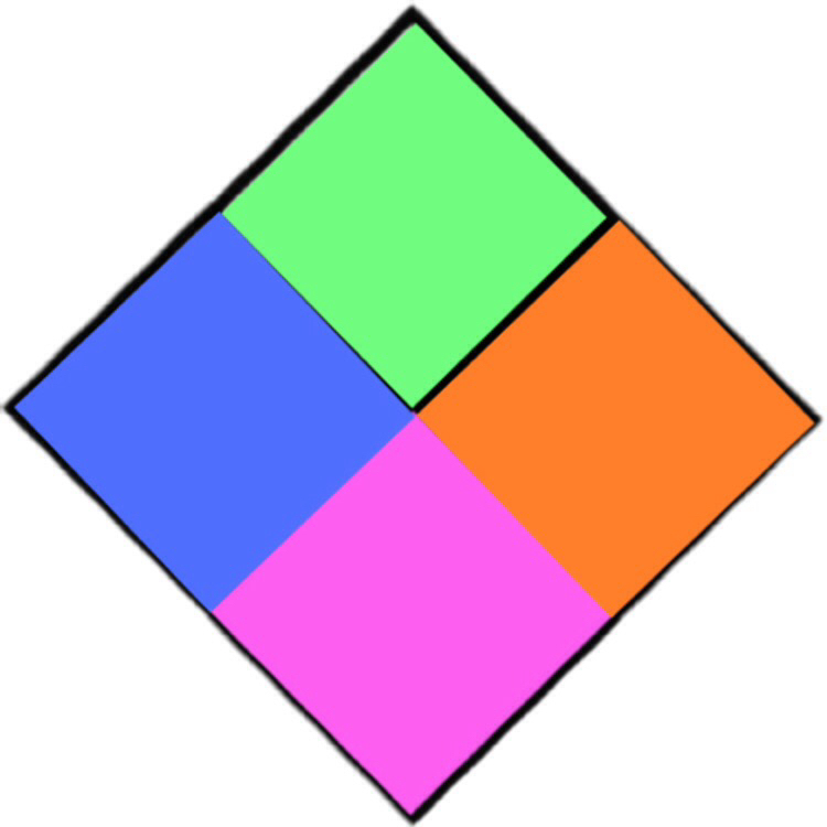 Step 4- continued- image with all 4 colors placed within squares within diamond
