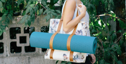 handmade diy yoga mat bag with floral print and leather straps