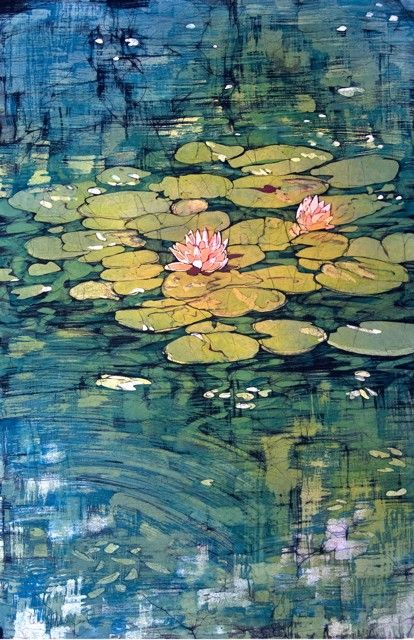 batik painting featuring yellow lily pads with pink flowers floating on blue water