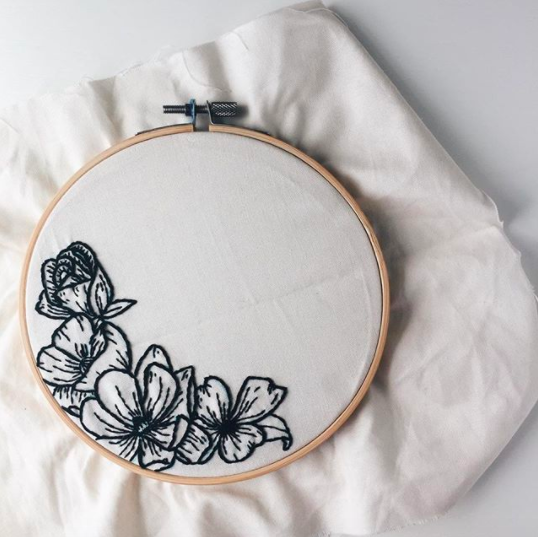 embroidery hoop with black simple flowers