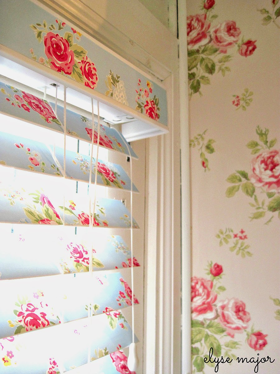 floral wall papered blinds