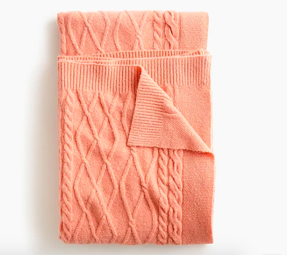 cable knit throw by j crew living coral