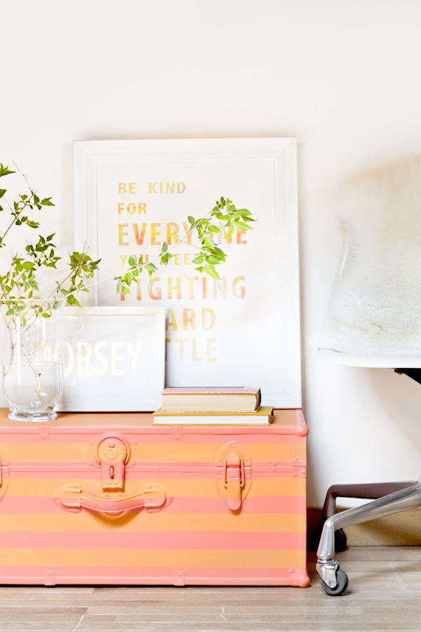 striped painted trunk living coral diy
