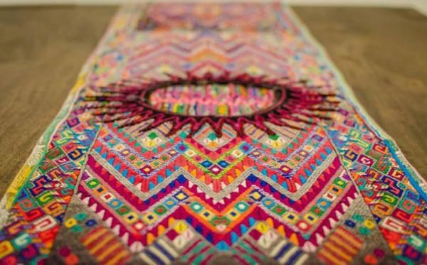 woven Mayan textile color in fashion