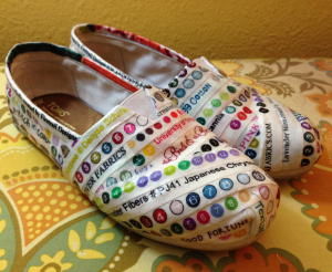 recycled fabric selvage shoes by Firetrail Designs