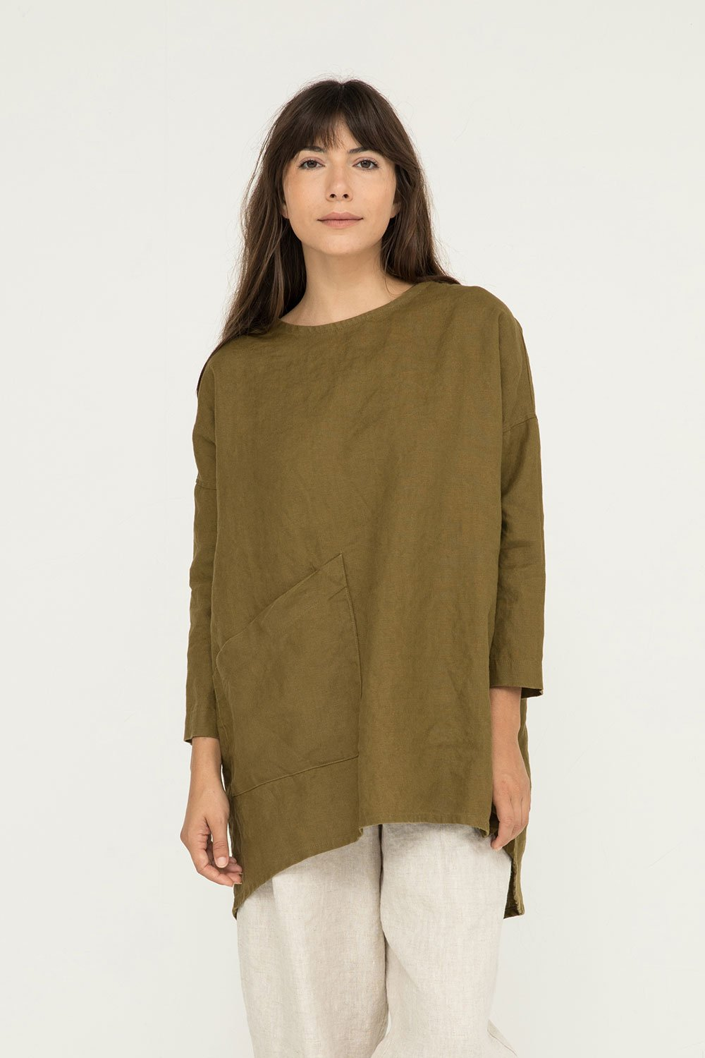 Long Sleeve Harper Tunic in Olive by Elizabeth Suzann