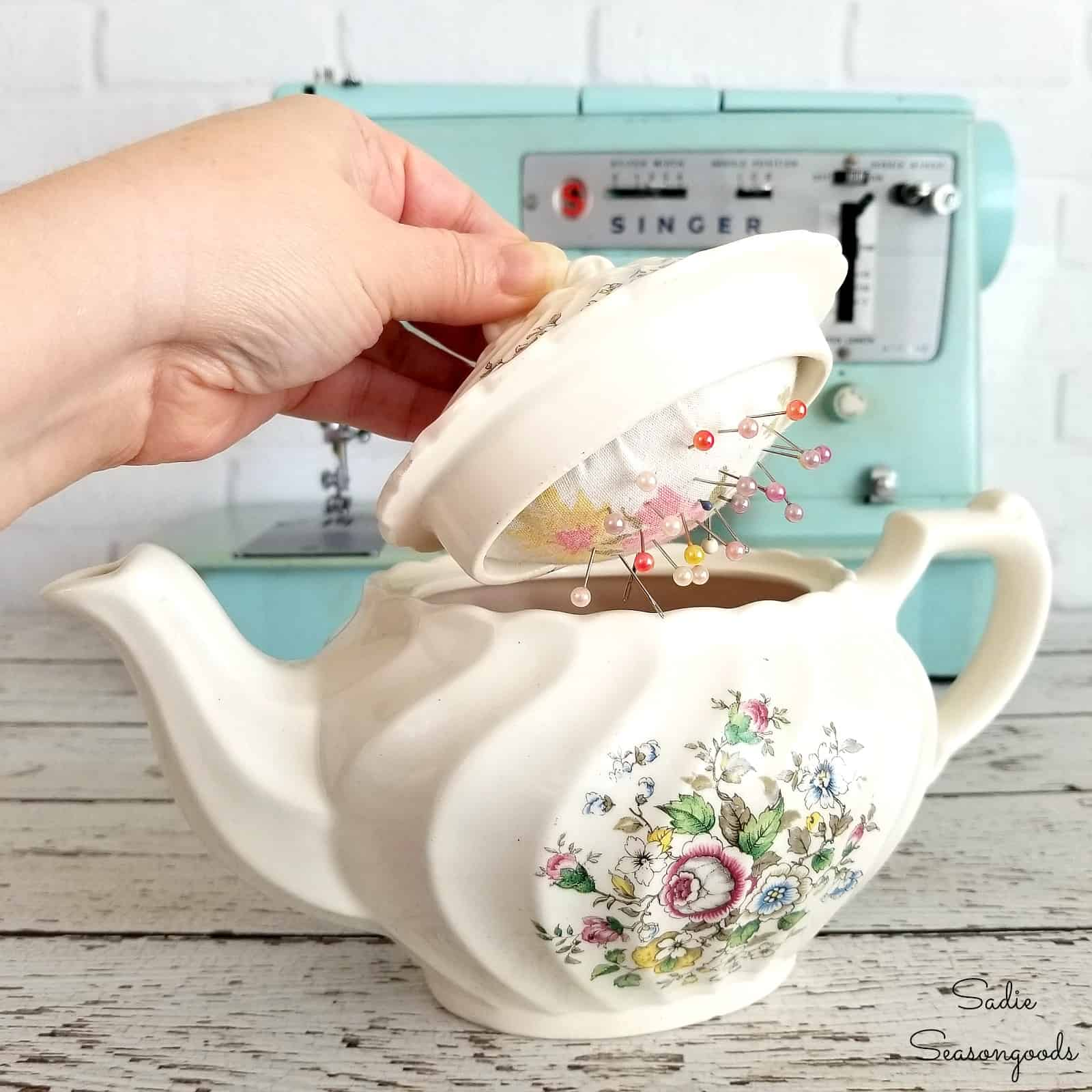 recycled teapot pincushion by sadie seasongoods